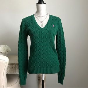 Ralph Lauren Sport Green V-neck Cable Knit Sweater